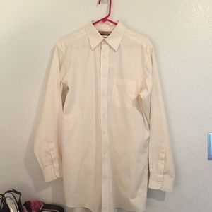 Round tree gold label fitted Ivory cotton shirt